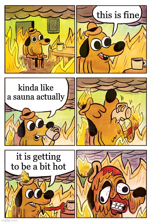 This is Fine Dog |  this is fine; kinda like a sauna actually; it is getting to be a bit hot | image tagged in this is fine dog | made w/ Imgflip meme maker