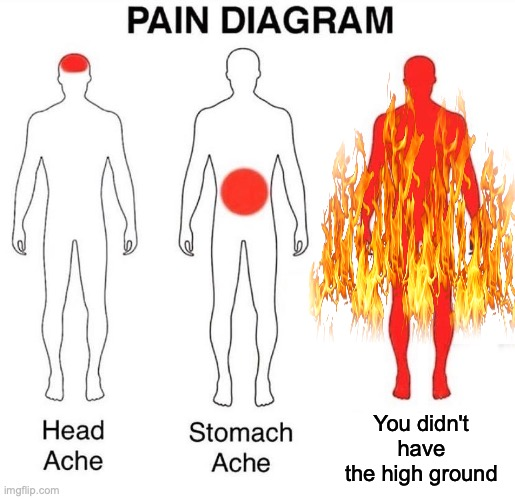 Pain Diagram |  You didn't have the high ground | image tagged in pain diagram | made w/ Imgflip meme maker