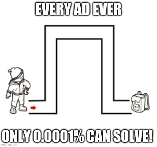 NO WAY! Can you solve? Only 0.00000001% can! |  EVERY AD EVER; ONLY 0.0001% CAN SOLVE! | image tagged in blank white template,ads,clickbait,memes,funny memes | made w/ Imgflip meme maker