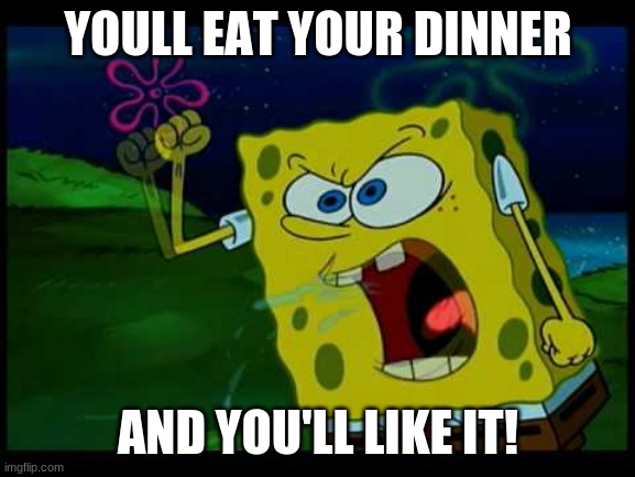 Wow This Spongebob Episode Is Awesome |  YOULL EAT YOUR DINNER; AND YOU'LL LIKE IT! | image tagged in spongebob,episode | made w/ Imgflip meme maker