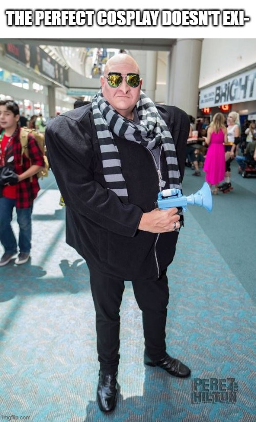 Perfect Cosplay |  THE PERFECT COSPLAY DOESN'T EXI- | image tagged in despicable me,gru,cosplay | made w/ Imgflip meme maker