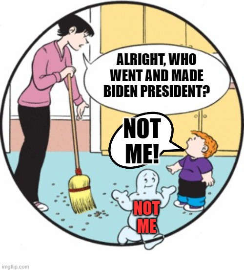 Lot's of Biden voters denying the whole mess. | ALRIGHT, WHO WENT AND MADE BIDEN PRESIDENT? NOT ME! NOT ME | image tagged in family circus not me,biden | made w/ Imgflip meme maker