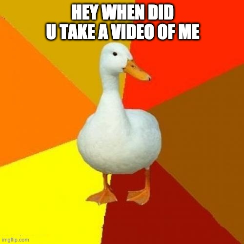 HEY WHEN DID U TAKE A VIDEO OF ME | image tagged in memes,tech impaired duck | made w/ Imgflip meme maker