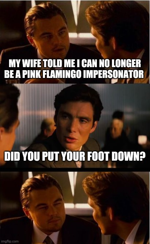 Inception |  MY WIFE TOLD ME I CAN NO LONGER BE A PINK FLAMINGO IMPERSONATOR; DID YOU PUT YOUR FOOT DOWN? | image tagged in memes,inception | made w/ Imgflip meme maker
