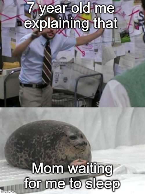 Conspiracy Seal | 7 year old me explaining that Mom waiting for me to sleep | image tagged in conspiracy seal | made w/ Imgflip meme maker