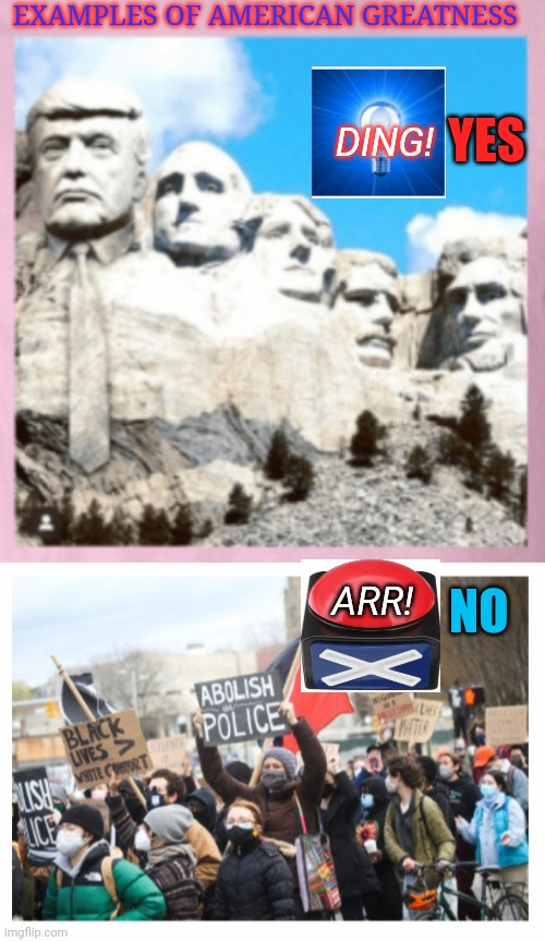 Today's US History |  EXAMPLES OF AMERICAN GREATNESS; DING! YES; ARR! NO | image tagged in usa,great,republican party,good,democrat party,sucks | made w/ Imgflip meme maker