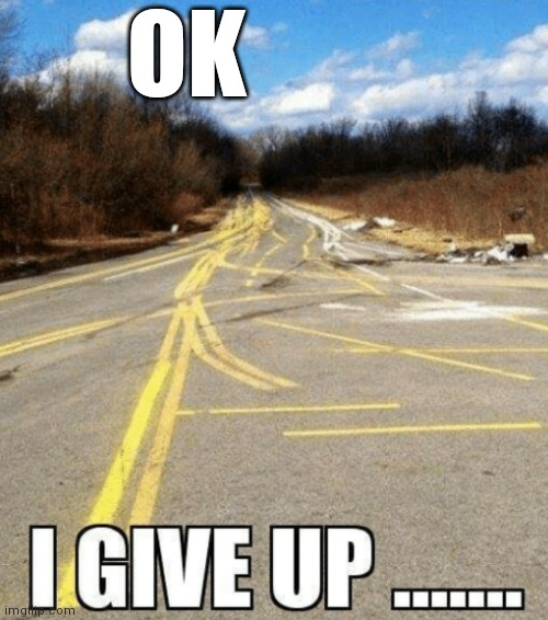 I give up... |  OK | image tagged in you had one job,you had one job just the one,one job | made w/ Imgflip meme maker