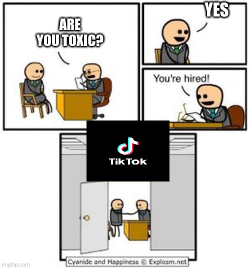 u are hired |  YES; ARE YOU TOXIC? | image tagged in your hired,tiktok | made w/ Imgflip meme maker