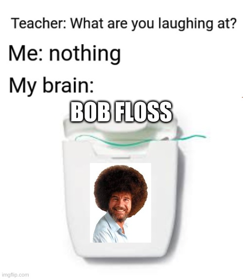 My Brain: Bob Floss |  BOB FLOSS | image tagged in funny,funny memes,funny meme,lol,hitler laugh,lol so funny | made w/ Imgflip meme maker