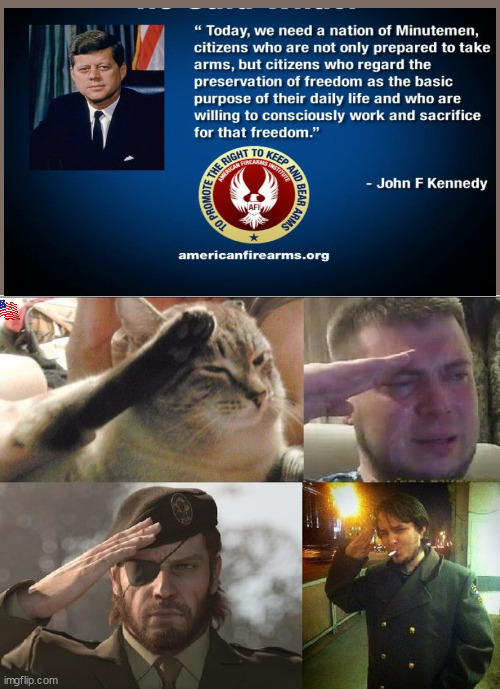 Ozon's Salute | image tagged in ozon's salute,jfk,patriotic | made w/ Imgflip meme maker
