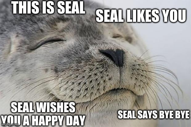 Satisfied Seal |  THIS IS SEAL; SEAL LIKES YOU; SEAL WISHES YOU A HAPPY DAY; SEAL SAYS BYE BYE | image tagged in memes,satisfied seal | made w/ Imgflip meme maker