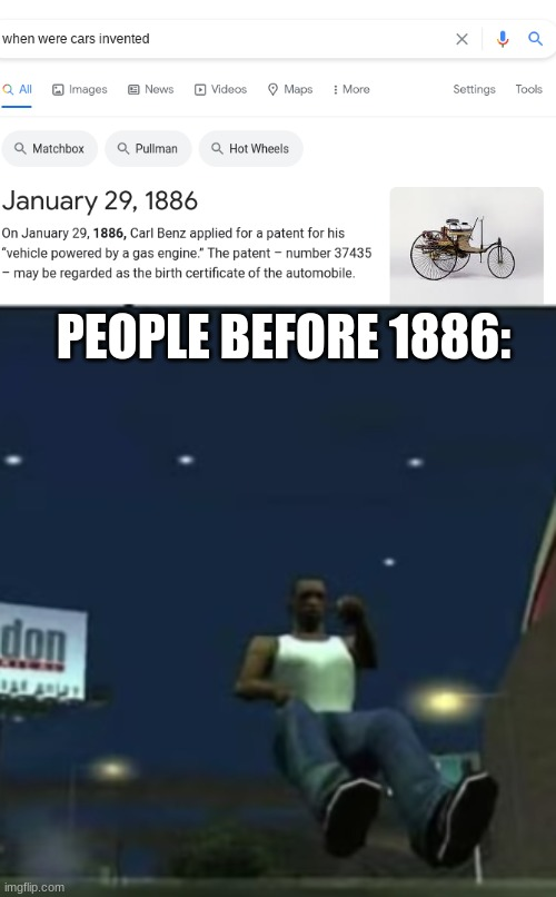 Funy |  PEOPLE BEFORE 1886: | image tagged in funy,100 | made w/ Imgflip meme maker