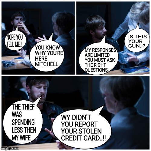 MY RESPONSES ARE LIMITED YOU MUST ASK THE RIGHT  QUESTIONS | image tagged in credit card,thief,police,murderr,report,memes | made w/ Imgflip meme maker