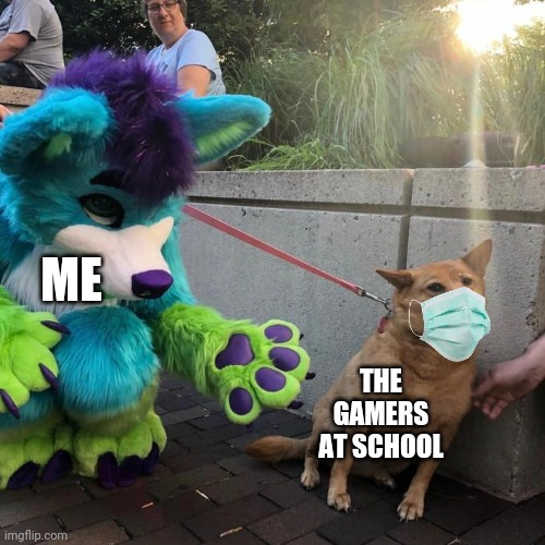 ME; THE GAMERS AT SCHOOL | image tagged in furry scaring dog | made w/ Imgflip meme maker