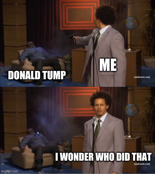 I wonder... |  ME; DONALD TUMP; I WONDER WHO DID THAT | image tagged in memes,who killed hannibal | made w/ Imgflip meme maker