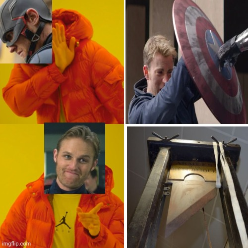 I don't think you're using that shield right, John. | image tagged in memes,drake hotline bling,mcu,captain america,shield | made w/ Imgflip meme maker