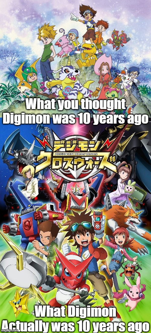 Feel old yet? |  What you thought Digimon was 10 years ago; What Digimon Actually was 10 years ago | image tagged in digimon,digimonfusion,digimonxroswars,anime,digimon adventure,feel old yet | made w/ Imgflip meme maker
