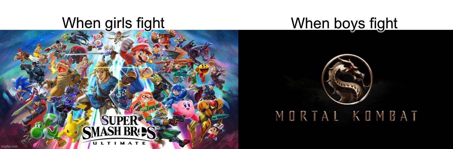 Mortal kombat |  When boys fight; When girls fight | image tagged in super smash bros,mortal kombat | made w/ Imgflip meme maker