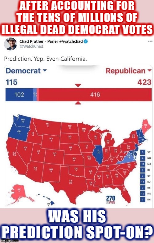Think he nailed it |  AFTER ACCOUNTING FOR THE TENS OF MILLIONS OF ILLEGAL DEAD DEMOCRAT VOTES; WAS HIS PREDICTION SPOT-ON? | image tagged in 2020 prediction hilariously wrong | made w/ Imgflip meme maker