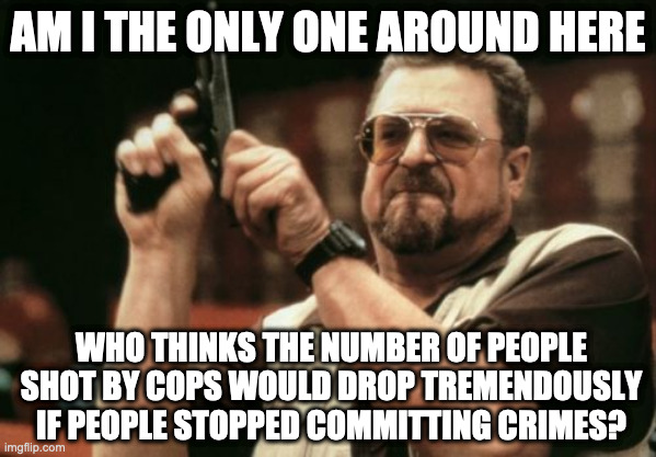 Am I The Only One Around Here |  AM I THE ONLY ONE AROUND HERE; WHO THINKS THE NUMBER OF PEOPLE SHOT BY COPS WOULD DROP TREMENDOUSLY IF PEOPLE STOPPED COMMITTING CRIMES? | image tagged in memes,am i the only one around here | made w/ Imgflip meme maker