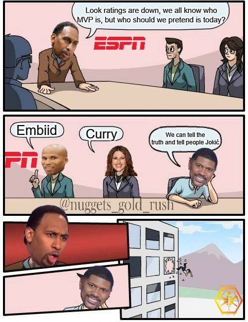 Jokic MVP |  Look ratings are down, we all know who MVP is, but who should we pretend is today? Embiid; Curry; We can tell the truth and tell people Jokić | image tagged in memes,boardroom meeting suggestion | made w/ Imgflip meme maker
