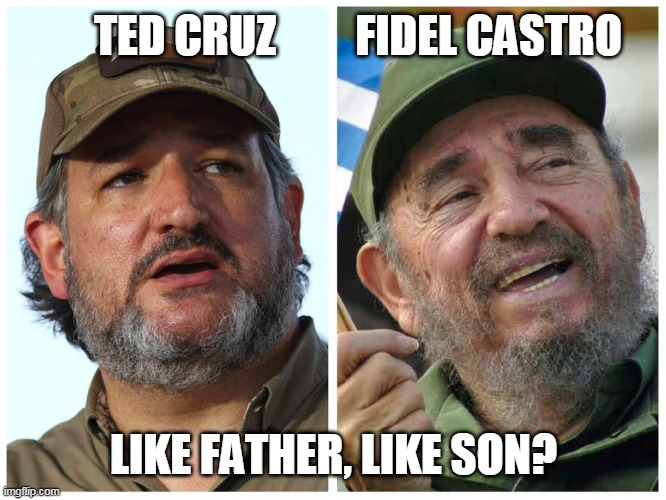 Like Father, Like Son Ted Cruz & Fidel Castro |  TED CRUZ         FIDEL CASTRO; LIKE FATHER, LIKE SON? | image tagged in ted cruz fidel castro,ted cruz,cuba,rafael cruz | made w/ Imgflip meme maker