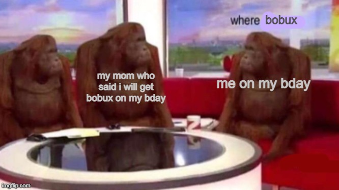WHER BOBUX |  bobux; my mom who said i will get bobux on my bday; me on my bday | image tagged in where banana blank | made w/ Imgflip meme maker