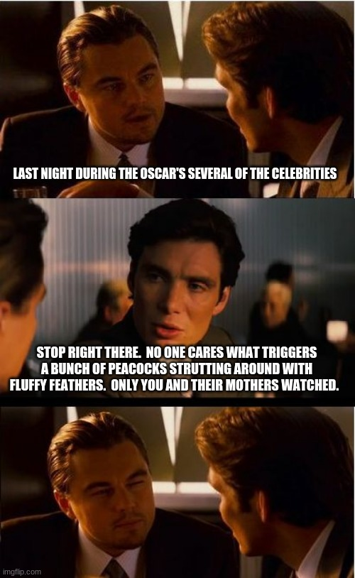 I was busy making swirls with sugar |  LAST NIGHT DURING THE OSCAR'S SEVERAL OF THE CELEBRITIES; STOP RIGHT THERE.  NO ONE CARES WHAT TRIGGERS A BUNCH OF PEACOCKS STRUTTING AROUND WITH FLUFFY FEATHERS.  ONLY YOU AND THEIR MOTHERS WATCHED. | image tagged in memes,inception,no one watched,go woke go broke,celebrities bore us,oscars boycott | made w/ Imgflip meme maker
