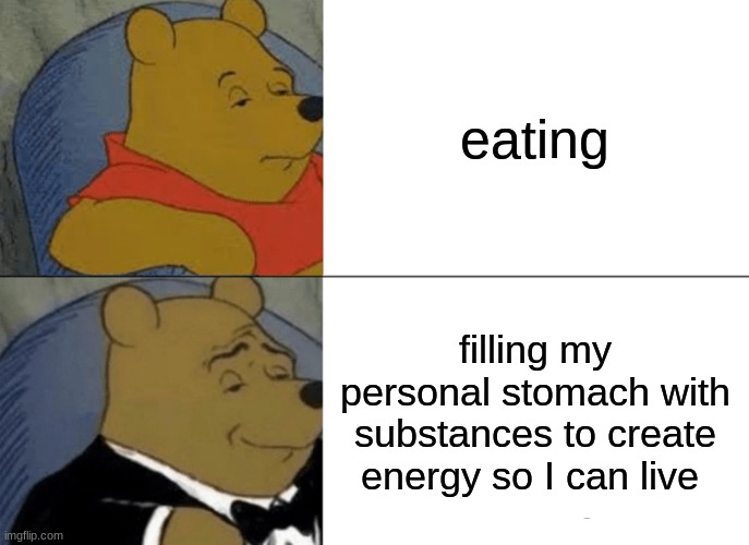 Tuxedo Winnie The Pooh Meme |  eating; filling my personal stomach with substances to create energy so I can live | image tagged in memes,tuxedo winnie the pooh | made w/ Imgflip meme maker