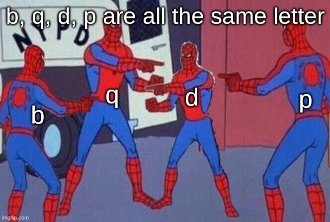 shok |  b, q, d, p are all the same letter; q; d; b; p | image tagged in spiderman pointing 4 | made w/ Imgflip meme maker
