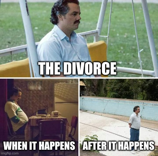 Sad Pablo Escobar |  THE DIVORCE; WHEN IT HAPPENS; AFTER IT HAPPENS | image tagged in memes,sad pablo escobar | made w/ Imgflip meme maker