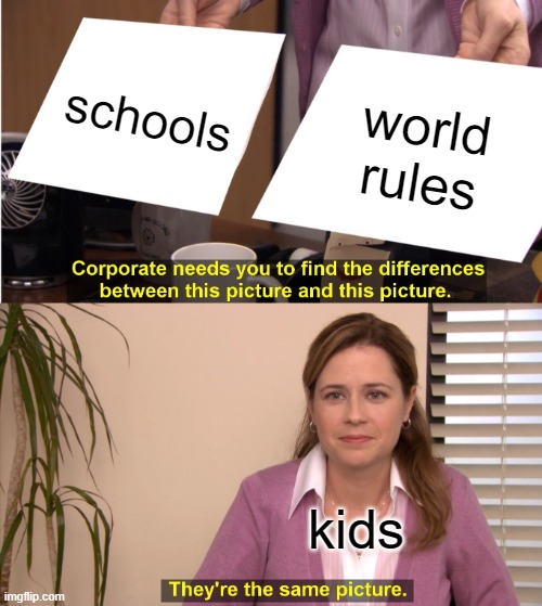 brett e metcalf |  schools; world rules; kids | image tagged in memes,they're the same picture | made w/ Imgflip meme maker