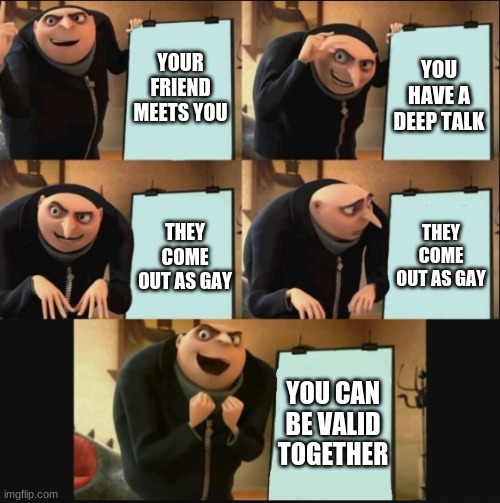 READ FULL IMAGE<NO HOMOPHOBIC COMMENTS |  YOUR FRIEND MEETS YOU; YOU HAVE A DEEP TALK; THEY COME OUT AS GAY; THEY COME OUT AS GAY; YOU CAN BE VALID TOGETHER | image tagged in 5 panel gru meme | made w/ Imgflip meme maker