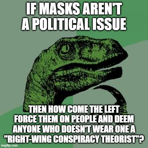 "Philosoraptor on masks |  IF MASKS AREN'T A POLITICAL ISSUE; THEN HOW COME THE LEFT FORCE THEM ON PEOPLE AND DEEM ANYONE WHO DOESN'T WEAR ONE A ""RIGHT-WING CONSPIRACY THEORIST""? 