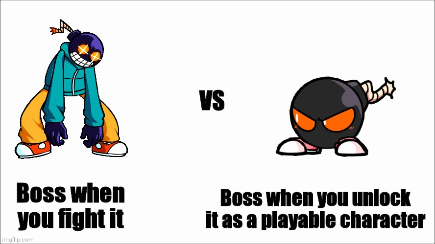 Basically a Buff Doge vs Cheems Whitty edition meme |  VS; Boss when you fight it; Boss when you unlock it as a playable character | image tagged in white screen | made w/ Imgflip meme maker