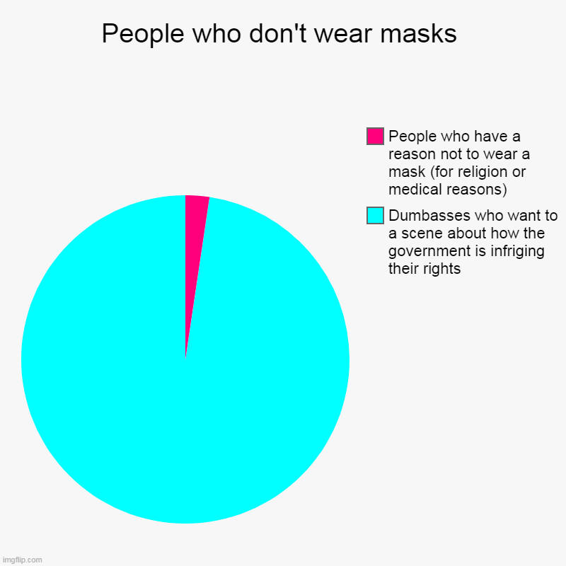 People who don't wear masks | People who don't wear masks | Dumbasses who want to a scene about how the government is infriging their rights, People who have a reason not | image tagged in pie charts,karen,mask,covid-19,pandemic | made w/ Imgflip chart maker