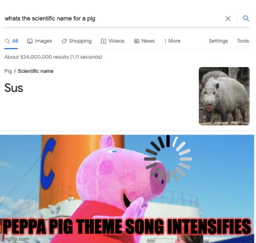 Peppa caught in 4K |  PEPPA PIG THEME SONG INTENSIFIES | image tagged in peppa pig,fortnite,sus,jesus christ,caught in the act,4k | made w/ Imgflip meme maker