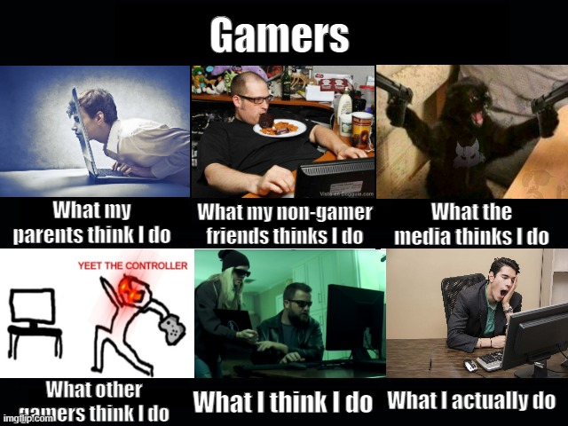 What they think I do: Gamers |  Gamers; What my non-gamer friends thinks I do; What my parents think I do; What the media thinks I do; What I actually do; What other gamers think I do; What I think I do | image tagged in what my friends think i do | made w/ Imgflip meme maker