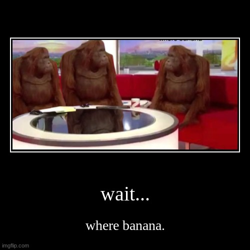 wait... | wait... | where banana. | image tagged in funny,demotivationals,monkey | made w/ Imgflip demotivational maker