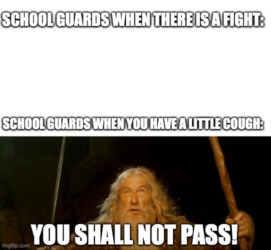 School guards man |  SCHOOL GUARDS WHEN THERE IS A FIGHT:; SCHOOL GUARDS WHEN YOU HAVE A LITTLE COUGH:; YOU SHALL NOT PASS! | image tagged in gandalf you shall not pass,school,covid | made w/ Imgflip meme maker
