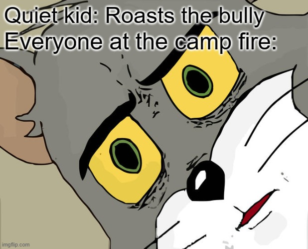 Unsettled Tom Meme |  Quiet kid: Roasts the bully; Everyone at the camp fire: | image tagged in memes,unsettled tom,dark humor | made w/ Imgflip meme maker