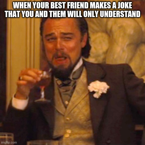 me and my best friend |  WHEN YOUR BEST FRIEND MAKES A JOKE THAT YOU AND THEM WILL ONLY UNDERSTAND | image tagged in memes,laughing leo | made w/ Imgflip meme maker