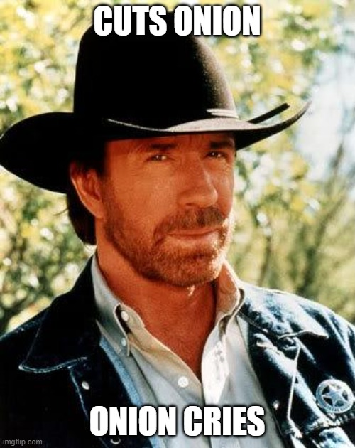 Chuck Norris Meme | CUTS ONION ONION CRIES | image tagged in memes,chuck norris | made w/ Imgflip meme maker
