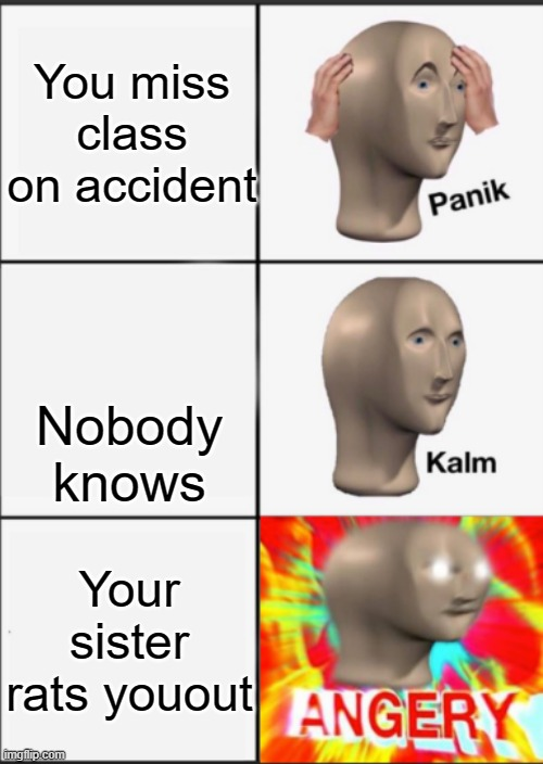 >:C I WANNA PUNCH SOMETHIN RN |  You miss class on accident; Nobody knows; Your sister rats youout | image tagged in panik kalm angery | made w/ Imgflip meme maker