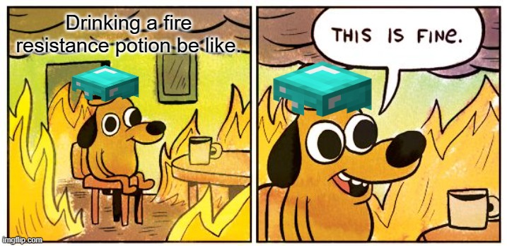 Minecraft in a nutshell |  Drinking a fire resistance potion be like. | image tagged in memes,this is fine | made w/ Imgflip meme maker