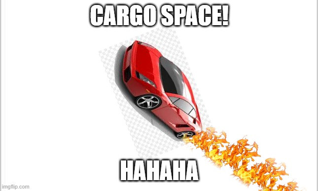 cargo space |  CARGO SPACE! HAHAHA | image tagged in white background | made w/ Imgflip meme maker