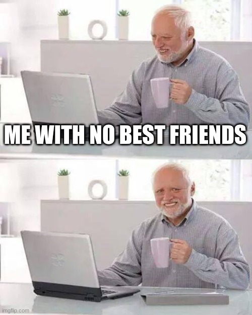 Hide the Pain Harold Meme | ME WITH NO BEST FRIENDS | image tagged in memes,hide the pain harold | made w/ Imgflip meme maker