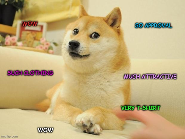 Doge 2 Meme |  SO APPROVAL; WOW; SUCH CLOTHING; MUCH ATTRACTIVE; VERY T-SHIRT; WOW | image tagged in memes,doge 2 | made w/ Imgflip meme maker