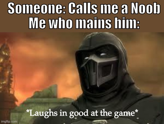 Laughs in 6/3 online win/loss ratio |  Someone: Calls me a Noob Me who mains him:; *Laughs in good at the game* | image tagged in cocky noob saibot,noob,noob saibot | made w/ Imgflip meme maker