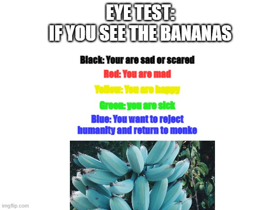 ? |  EYE TEST: IF YOU SEE THE BANANAS; Red: You are mad; Black: Your are sad or scared; Yellow: You are happy; Green: you are sick; Blue: You want to reject humanity and return to monke | image tagged in blank white template,banana,return to monke,bananas,eye test | made w/ Imgflip meme maker